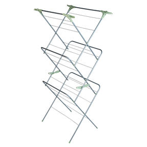 Beldray® LA077578TS 3 Tier Clothes Airer with Hanging Hooks| 15 m of Drying Space | Foldable | Holds 15 kg | Abstract Green