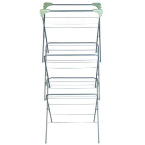 Beldray® LA077578TS 3 Tier Clothes Airer with Hanging Hooks| 15 m of Drying Space | Foldable | Holds 15 kg | Abstract Green Thumbnail 3
