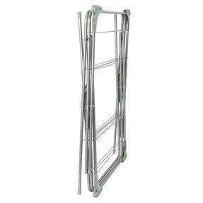 Beldray® LA077578TS 3 Tier Clothes Airer with Hanging Hooks| 15 m of Drying Space | Foldable | Holds 15 kg | Abstract Green Thumbnail 6