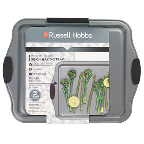 Russell Hobbs® RH01914EU Pearlised Baking Tray |Non-Stick | Carbon Steel | 38cm | Silicone Handles | Matte Grey Thumbnail 5