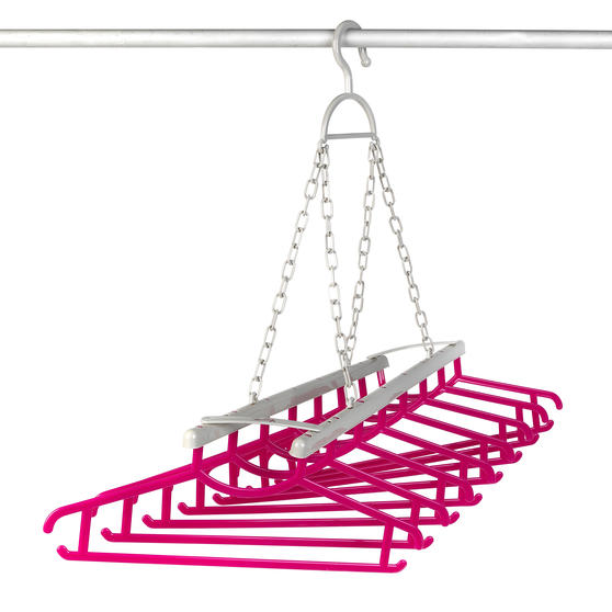 Kleeneze® KL066633EU Multi Shirt Hanger | Holds Up To 8 Shirts| All In One Hanging and Drying Solution | Grey/Pink
