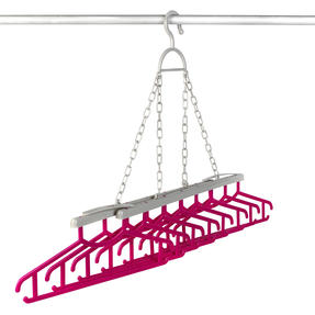 Kleeneze® KL066633EU Multi Shirt Hanger | Holds Up To 8 Shirts| All In One Hanging and Drying Solution | Grey/Pink Thumbnail 3