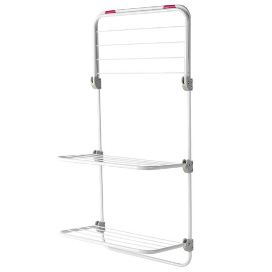 Kleeneze® Three-Tier Overdoor Clothes Airer  Adjustable Shelves   40 x 20 x 134 cm   Pink/White