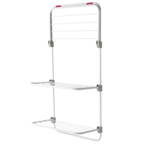 Kleeneze® Three-Tier Overdoor Clothes Airer |Adjustable Shelves | 40 x 20 x 134 cm | Pink/White