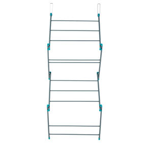 Beldray® LA081117EU7 Compact Overdoor Clothes Airer  5 Metres Of Drying Space   10 Drying Bars   50 x 23.5 x 140 cm   Grey/Turquoise