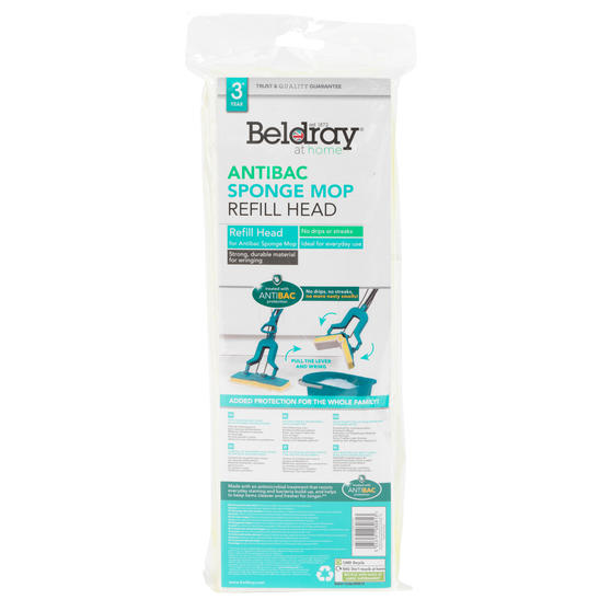 Beldray® LA080813UFEU7 Anti-Bac Sponge Refill Mop Head | Fits Mop LA026477| Treated with Anti-Bac Protection | Highly Absorbent