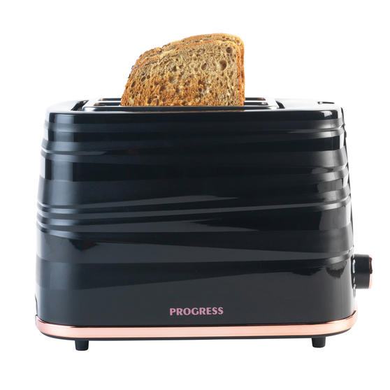 Progress® Jupiter 2-Slice Toaster with Swirl Effect Finish| Defrost, Reheat and Cancel Functions