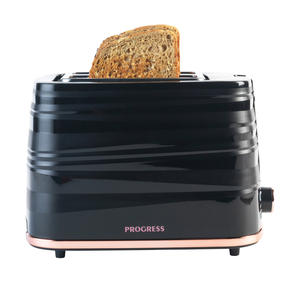 Progress® EK4127PBRG Jupiter 2-Slice Toaster with Swirl Effect Finish| Defrost, Reheat and Cancel Functions | 7 Levels Of Variable Browning Control | Wide Slots | 930 W | Black/Rose Gold