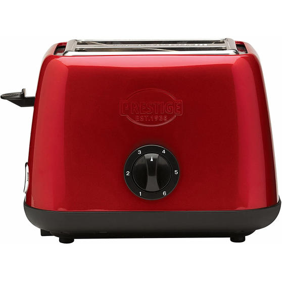 Prestige 46269 2 Slice Toaster with Removable Crumb Tray | Cancel and Defrost Function | 6 Variable Browning Options | Heritage Red