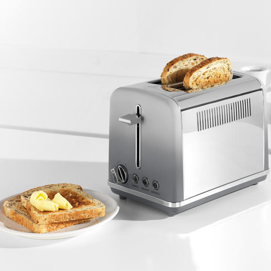 Salter® EK4324MATOMBRE Gradient Ombre 2-Slice Toaster | 870W |  6 Levels Of Browning Control | Indicator Lights & Wide Slots For Bagels, Crumpets & More | Grey/Stainless Steel