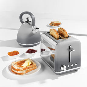Salter® EK4324MATOMBRE Gradient Ombre 2-Slice Toaster | 870W |  6 Levels Of Browning Control | Indicator Lights & Wide Slots For Bagels, Crumpets & More | Grey/Stainless Steel Thumbnail 2