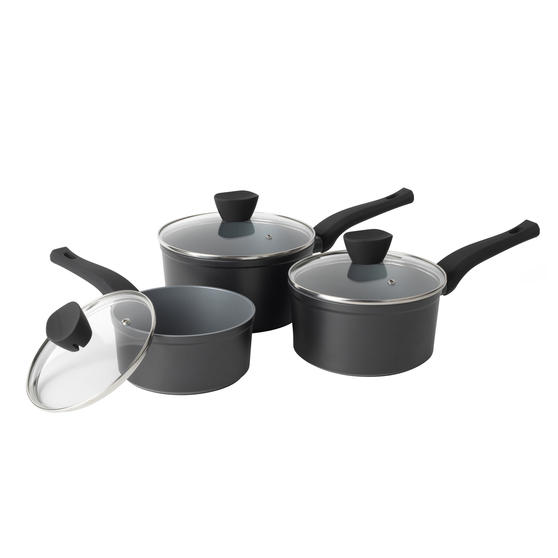 Russell Hobbs® RH01706EU Pearlised Forged Aluminium 3 Piece Saucepan Set   16,18,20 cm   Whitford Non-Stick Coating   Suitable for All Hob Types Including Induction   Matte Grey