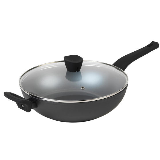 Russell Hobbs® RH01709EU Pearlised Forged Aluminium Wok With Tempered Glass Lid | 28cm | Whitford Non-Stick Coating | Suitable for All Hob Types Including Induction | Matte Grey