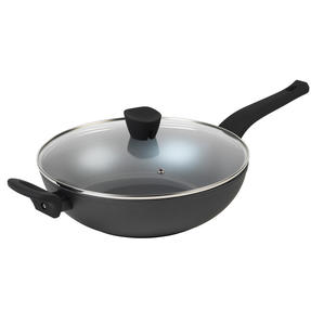 Russell Hobbs® RH01709EU Pearlised Forged Aluminium Wok With Tempered Glass Lid | 28cm | Whitford Non-Stick Coating | Suitable for All Hob Types Including Induction | Matte Grey Thumbnail 1