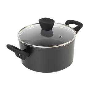 Russell Hobbs® RH01712EU Pearlised Forged Aluminium Stock Pot With Tempered Glass Lid   20cm   Whitford Non-Stick Coating   Suitable for All Hob Types Including Induction   Matte Grey