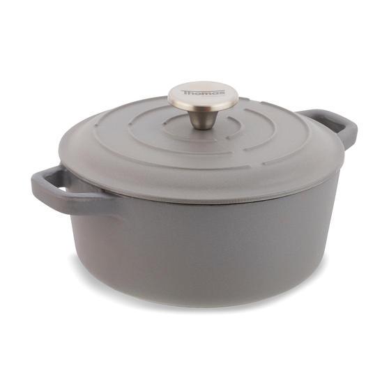 Thomas P505369 Round Casserole Dish with Lid, 20 cm, 2.4 Litre Capacity, Cast Iron