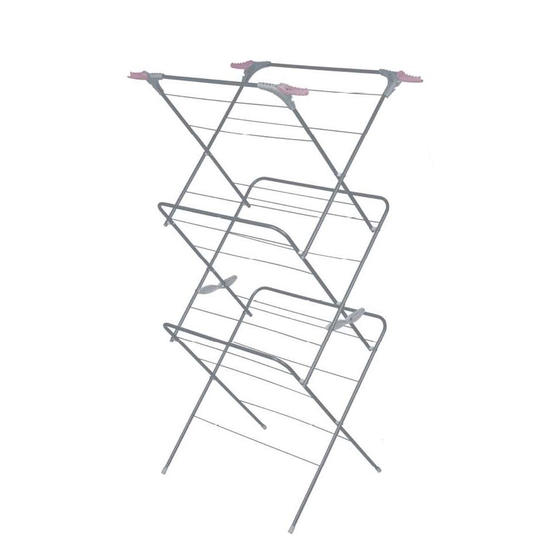 Russell Hobbs® LA083357PINKEU7 Three Tier Clothes Airer, 15 m of Drying Space, Pink/Grey