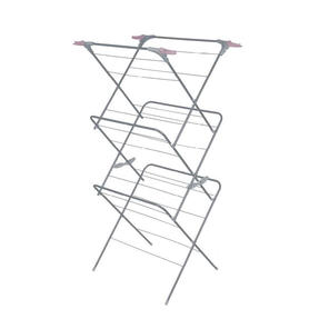 Russell Hobbs® LA083357PINKEU7 Three Tier Clothes Airer, 15 m of Drying Space, Pink/Grey Thumbnail 1