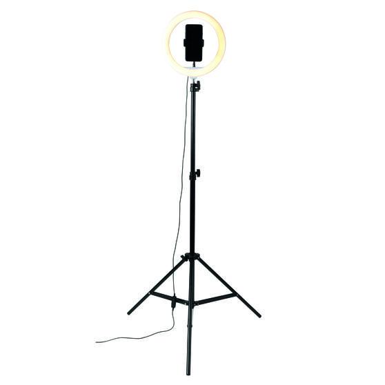 Intempo® EE5976KBLKSTKEU7V2 Standing Selfie Light With Phone Holder, 3 Light Modes, 26 cm Light Ring