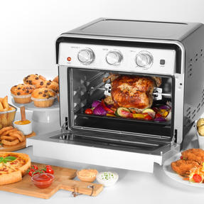 Salter® EK3999 22 Litre Air Fryer Oven    Variable Temperature Control  1600W Oven/1700W Fryer  Cook Healthy Meals From Fresh & Frozen  Enamel Drip Tray, Grill Rack, Rotisserie & Fork Tong Thumbnail 3