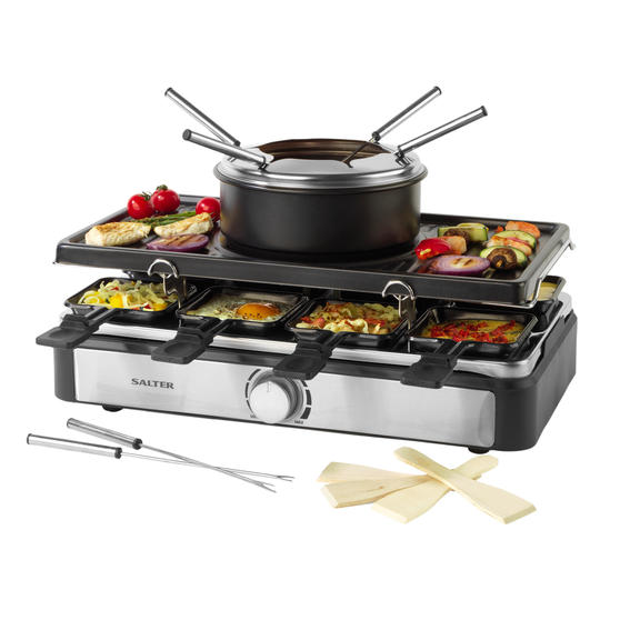 Salter® EK4513 Electric 8-Piece Non-Stick Stone Raclette Grill and Fondue   54 x 19.5 x 28cm  1400 W   Includes 6 Dipping Forks, 8 Non-Stick Grill Pans & Wooden Spatulas