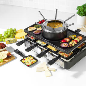 Salter® EK4513 Electric 8-Piece Non-Stick Stone Raclette Grill and Fondue   54 x 19.5 x 28cm  1400 W   Includes 6 Dipping Forks, 8 Non-Stick Grill Pans & Wooden Spatulas Thumbnail 2