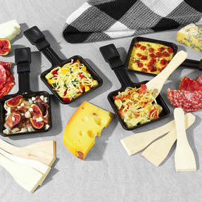 Salter® EK4513 Electric 8-Piece Non-Stick Stone Raclette Grill and Fondue   54 x 19.5 x 28cm  1400 W   Includes 6 Dipping Forks, 8 Non-Stick Grill Pans & Wooden Spatulas Thumbnail 4