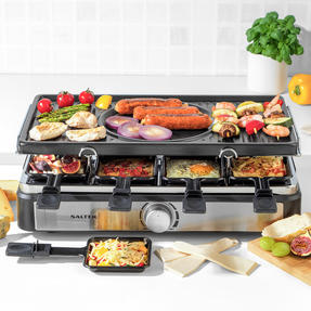 Salter® EK4513 Electric 8-Piece Non-Stick Stone Raclette Grill and Fondue   54 x 19.5 x 28cm  1400 W   Includes 6 Dipping Forks, 8 Non-Stick Grill Pans & Wooden Spatulas Thumbnail 8