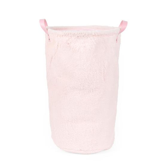 Beldray® LA073235PNKEGFOB Faux Fur Hamper, Ideal for Towels, Clothes or Toys, Pink