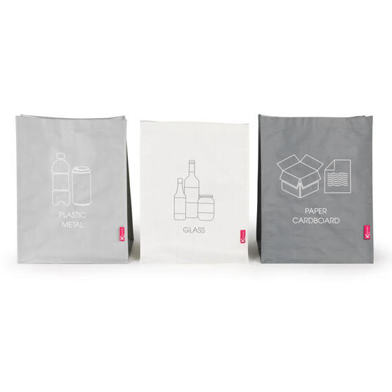 Kleeneze Set of 3 Recycling Bags for Cardboard/Paper, Metal/Plastic and Glass