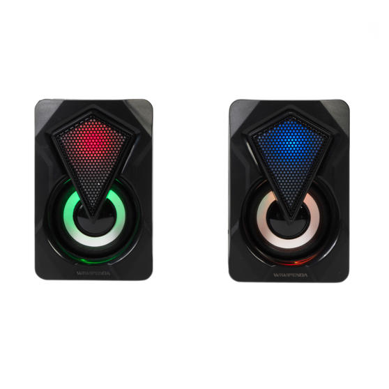 Intempo® EE6397BLKSTKEU7V2 RGB Gaming Speaker Set with LED Colour Changing Lights, 3 W