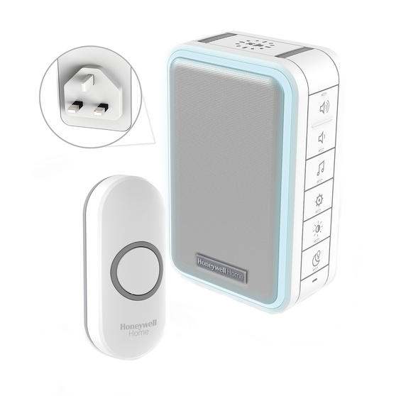 Honeywell DC315N Wireless Doorbell with Halo Light, Sleep Timer and Mute Function, White
