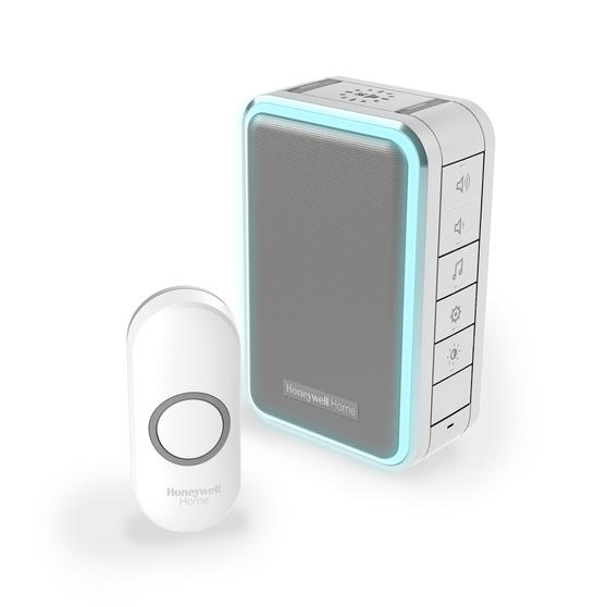 Honeywell DC315NG Wireless Doorbell with Halo Light, Sleep Timer and Mute Function, Grey