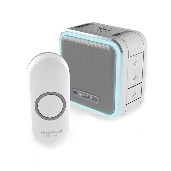 Honeywell DC515NG Wireless Compact Doorbell with Halo Light, Sleep Timer and Mute Function, Grey