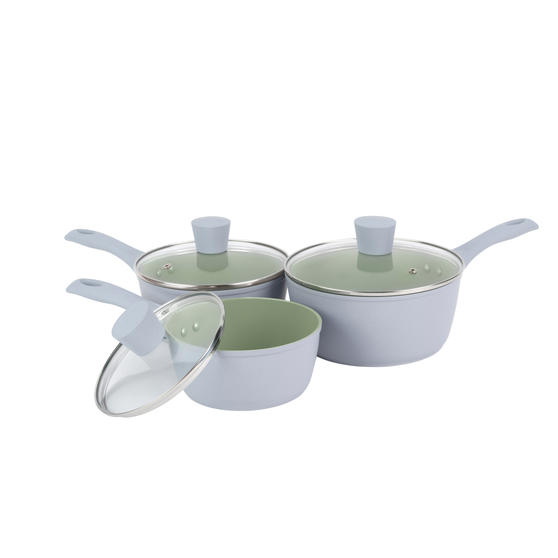 Salter BW09283AR Earth 3-Piece Saucepan Set, 16/18/20 cm, Non-Stick Cooking Surface, Strong and Durable, Soft-Touch Handles, Includes Tempered Glass Lids with Steam Vents, Green