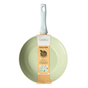 Salter BW09285 Earth Forged Aluminium Stir Fry Pan, Non-Stick, Soft-Touch Handle, 28 cm, Green
