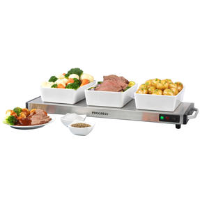 Progress® EK2610P Cordless Large Hot Plate Food/Plate Warmer, Portable, Cool Touch Handles, Non Slip Feet, 1200 W,  Keeps Food Warm For Up To 60 Minutes
