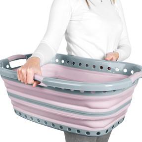 Russell Hobbs LA083555PNKEU7 Collapsible Hip Hugger Laundry Basket, Curved Shape, 37 Litre, Non-Slip Handles, Portable Washing Tub