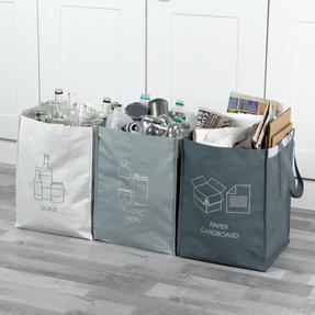 Beldray® LA084514EU7 Set of 3 Recycling Bags for Cardboard/Paper, Metal/Plastic and Glass
