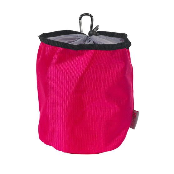 Kleeneze KL081834EU7 Drawstring Peg Bag With Secure Carabiner Line Clip, Water Resistant, Holds Up To 150 Pegs, 17 x 19cm, Pink/Grey