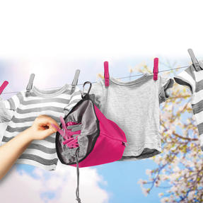 Kleeneze KL081834EU7 Drawstring Peg Bag With Secure Carabiner Line Clip, Water Resistant, Holds Up To 150 Pegs, 17 x 19cm, Pink/Grey Thumbnail 3