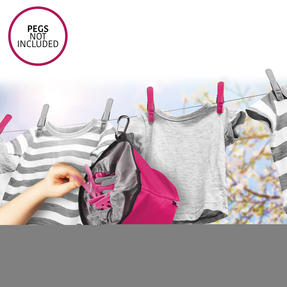 Kleeneze KL081834EU7 Drawstring Peg Bag With Secure Carabiner Line Clip, Water Resistant, Holds Up To 150 Pegs, 17 x 19cm, Pink/Grey Thumbnail 4