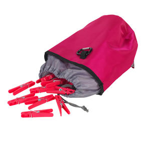 Kleeneze KL081834EU7 Drawstring Peg Bag With Secure Carabiner Line Clip, Water Resistant, Holds Up To 150 Pegs, 17 x 19cm, Pink/Grey Thumbnail 7