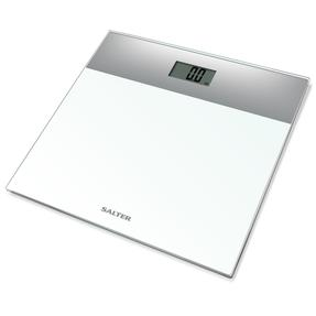 Salter Compact Glass Digital Bathroom Scale - White and Silver