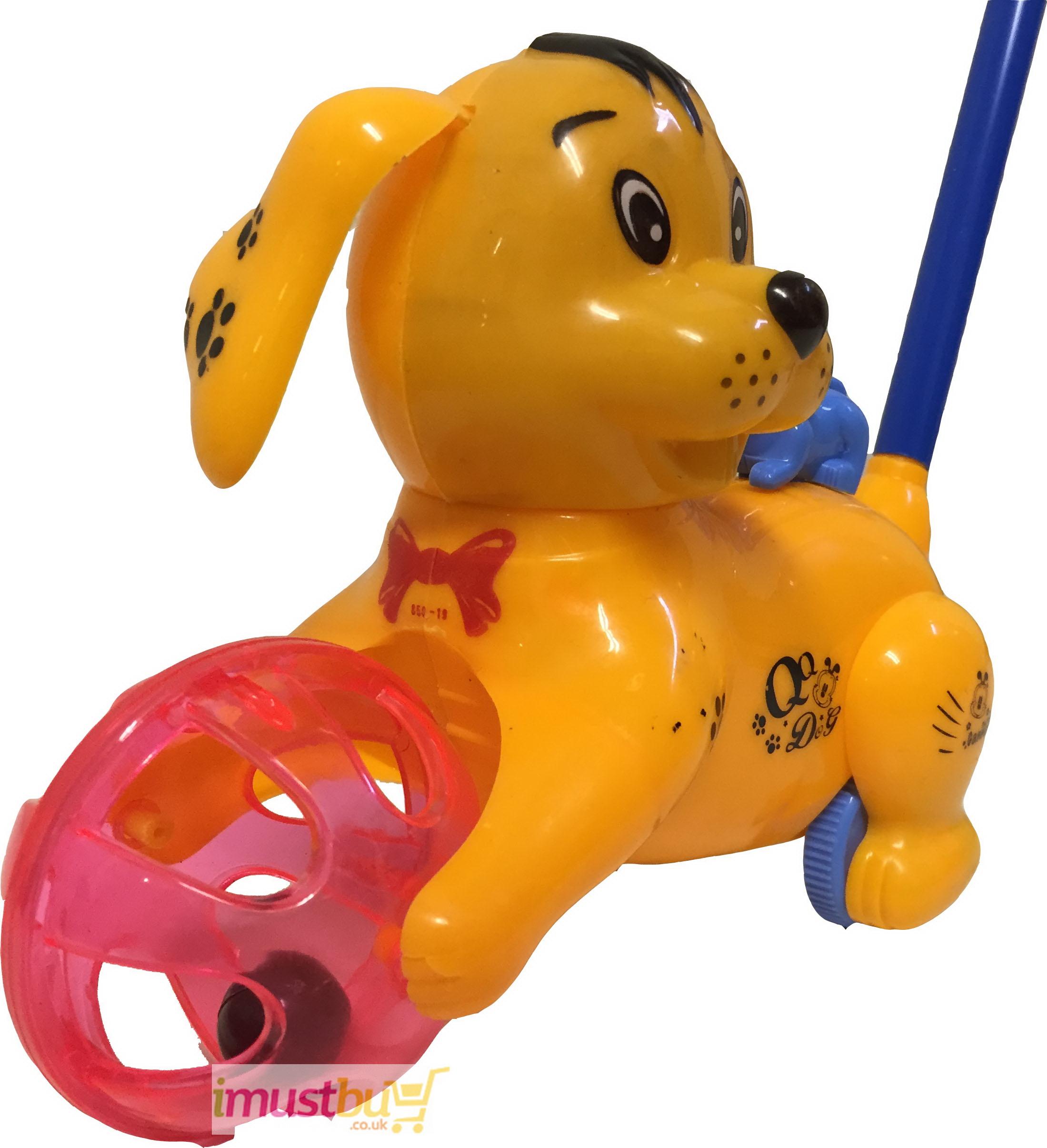 Baby Kids Learn Walking Hand Push Dog Toy Blink Eyes Stick Tongue