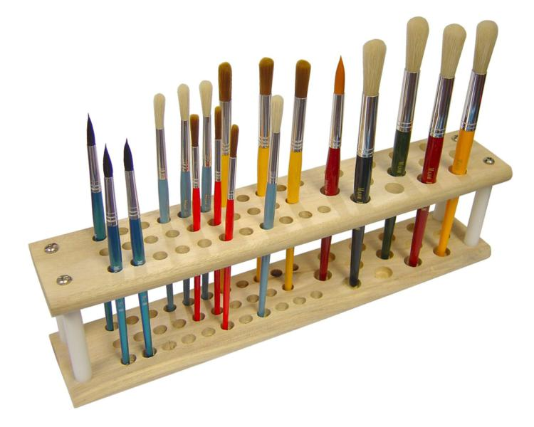 Artists MDF Wooden Paint Brush Holder Storage Stand Holds ...