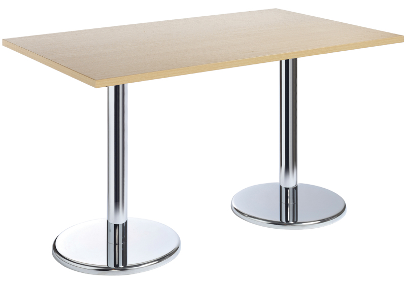 PISA Rectangular Table Top With Round Base Cafe