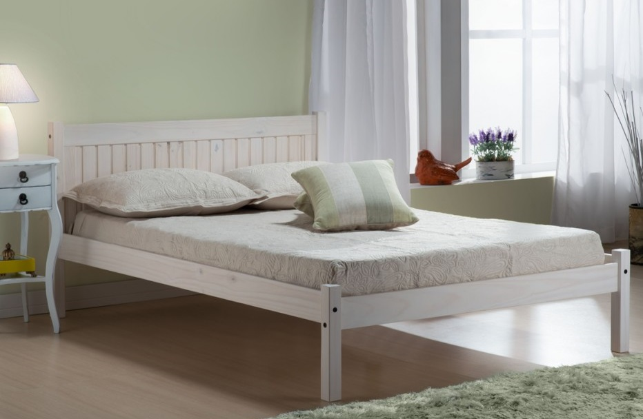 Rio 4ft Small Double Solid Wooden Bed Frame White Washed