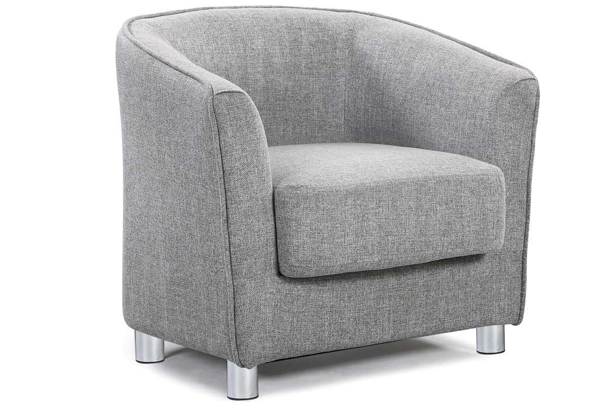 Vegas Contemporary Modern Simple Design Light Grey Fabric Tub Chair ...