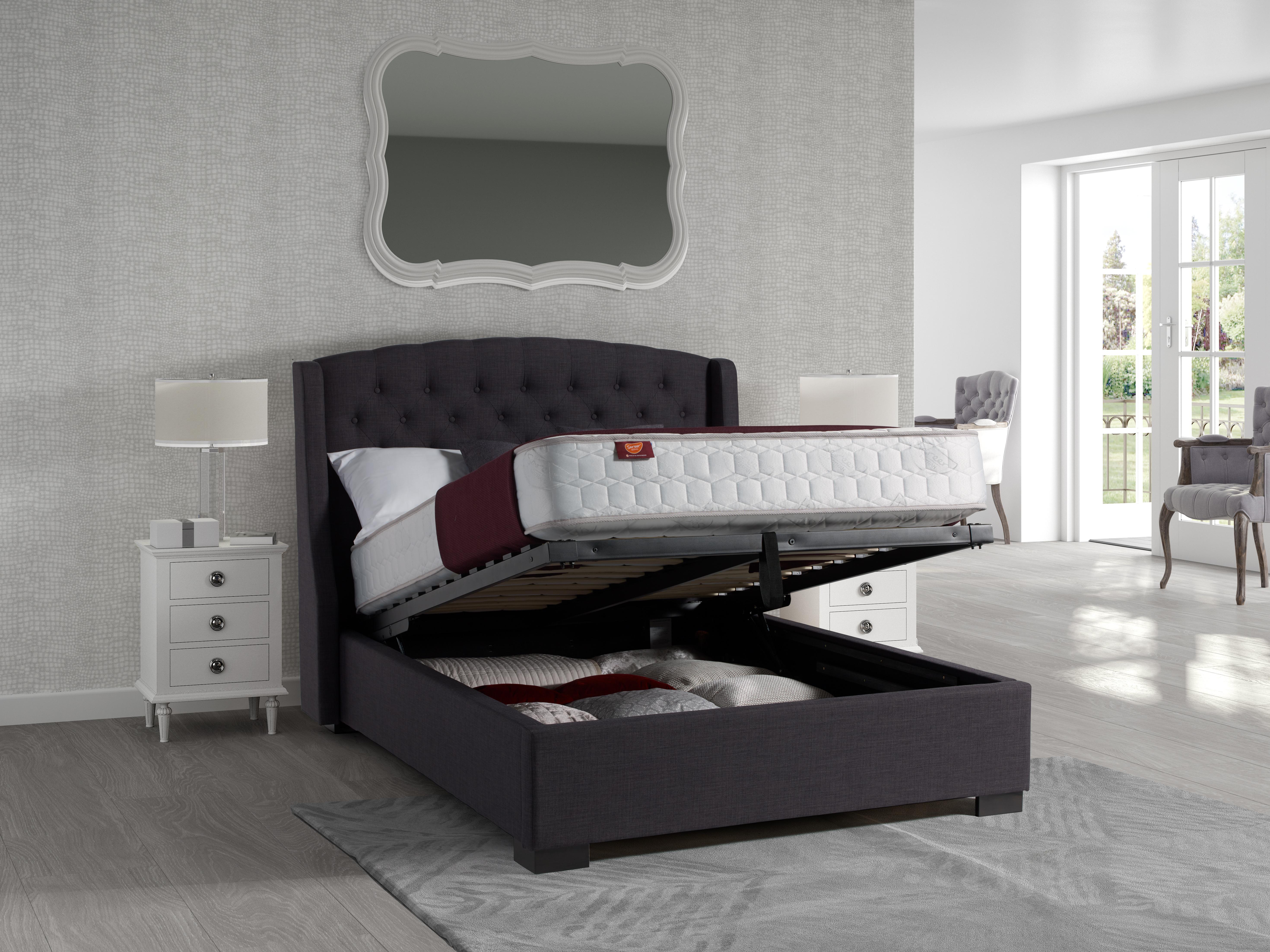 Sovereign Modern Ottoman Dark Grey 5ft King Size Bed Frame Bedroom